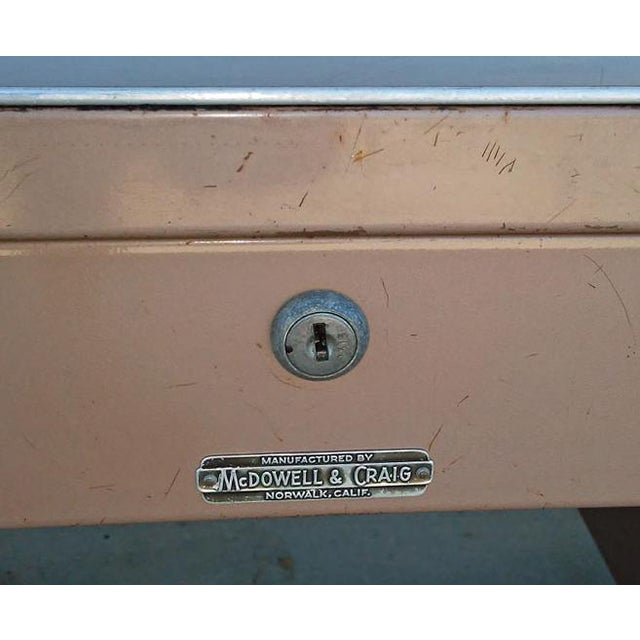 "Industrial McDowell & Craig 60"" Classic Steel Tanker Desk For Sale - Image 3 of 3"
