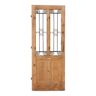 Antique French Door With Decorative Iron For Sale