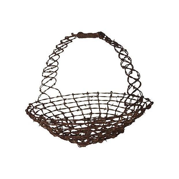 Barbed Wire Folk Art Basket - Image 1 of 3