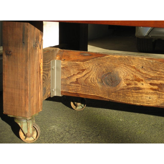 Brown Hand Crafted Live Edge Red Cedar Slab Table For Sale - Image 8 of 10