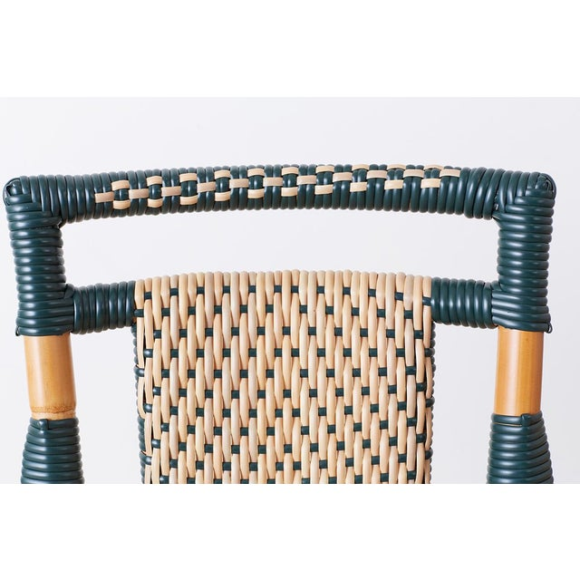 Green Pair of Palecek Bamboo Rattan Bistro Cafe Chairs For Sale - Image 8 of 13