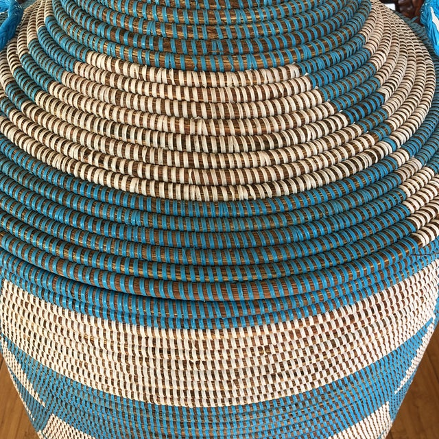 Boho Chic Blue Handwoven Geometric Basket For Sale - Image 3 of 8