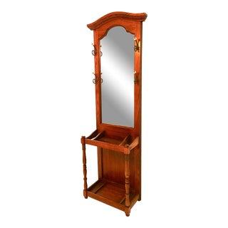 Mid-Century Mirror Back Hall Rack