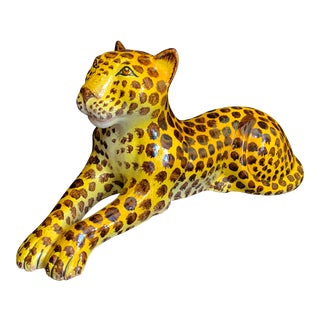 Vintage Mid-Century Italian Terra Cotta Pottery Leopard Sculpture For Sale