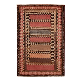 Hand-Knotted Mid-Century Vintage Gabbeh Rug in Red Beige-Brown Tribal Pattern For Sale