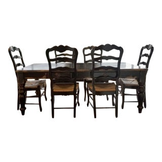 "English Style ""Old Plank"" Turned Leg Distressed Table With Ladder Back Chairs Dining Set For Sale"