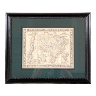Antique 19th Century Framed Map of Chile Brazil Bolivia Paraguay and Uruguay For Sale
