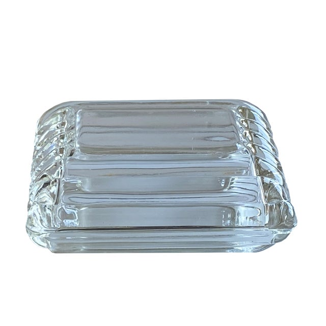Mid-Century Modern Mid Century Ribbed Glass Box For Sale - Image 3 of 8