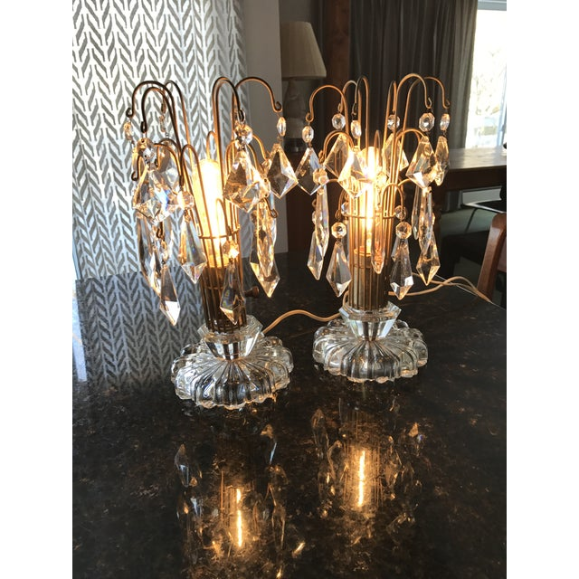 Vintage Art Deco Crystal Chandelier Lamps - A Pair - Image 9 of 10