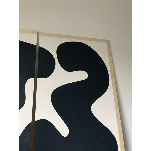 2010s Navy and White Abstract Diptych on Wood For Sale - Image 5 of 11