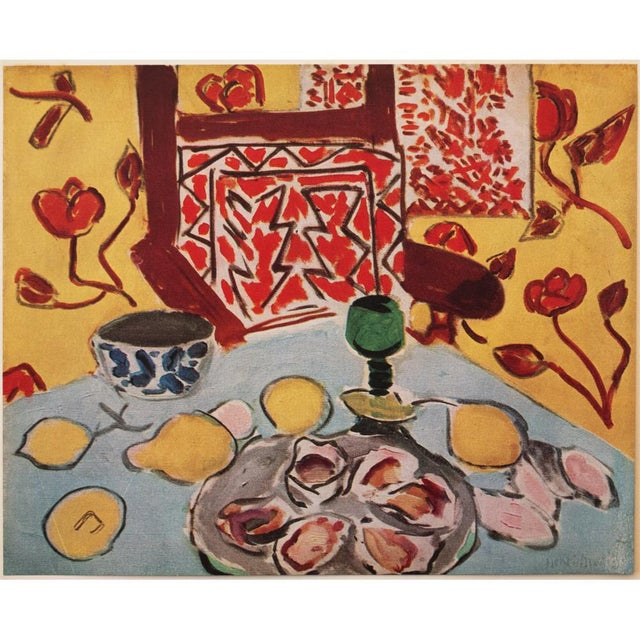 """A rare tipped-in original period offset lithograph after painting """"Nature Morte Sur Table Bleue"""" (Still Life On Blue..."""