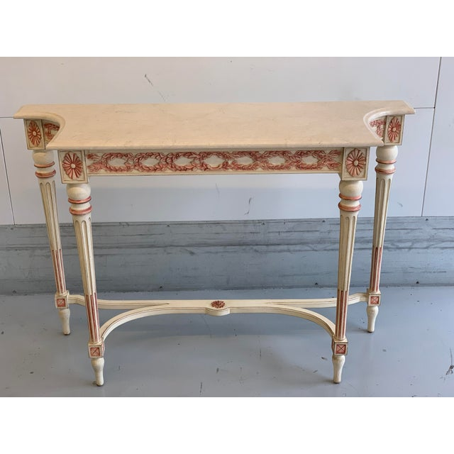 Wood 20th Century Hollywood Regency Marble Top Console Table For Sale - Image 7 of 11