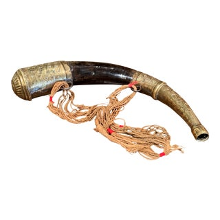 19th Century French Drinking Horn With Copper Embellishments For Sale