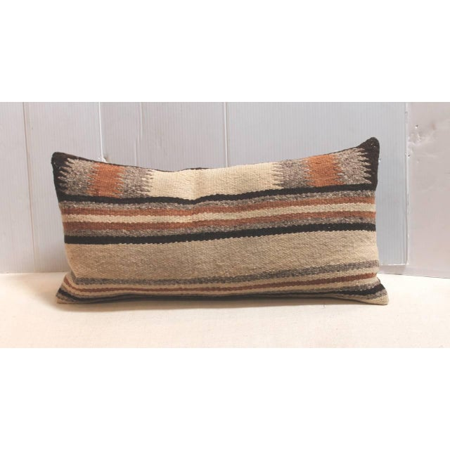 Native American Pair of Navajo Indian Weaving Saddle Blanket Pillows For Sale - Image 3 of 4