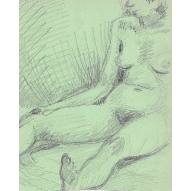 Seated Female Nude Figure Drawing by James Bone For Sale