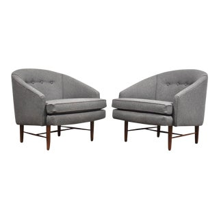 Grey Barrel Black Walnut Mid Century Lounge Chairs - a Pair For Sale
