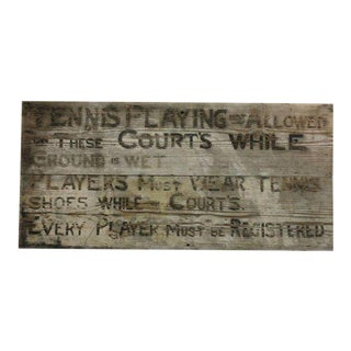 1920s Tennis Club Hand Painted Wood Sign For Sale