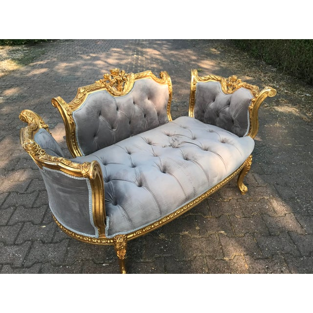 2010s French Louis XVI Style Gray Settee For Sale - Image 5 of 8