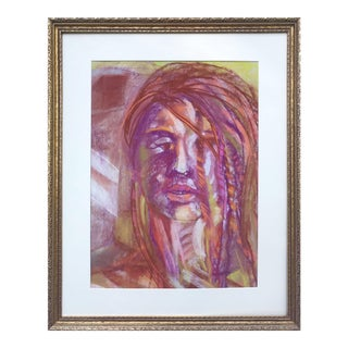 Vintage Expressionist Pastel Portrait of a Woman by Gerard Haggerty For Sale
