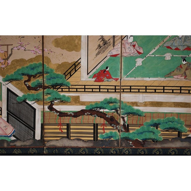 17th C. Japanese the Tale of Genji Byobu Screen For Sale - Image 9 of 13