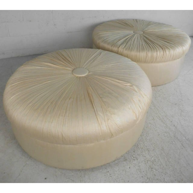 Mid-Century Modern Mid-Century Modern Tufted Silk Ottomans- a Pair For Sale - Image 3 of 9