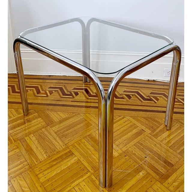 Vintage 1970s Modern Milo Baughman Style Tubular Chrome Side Table For Sale - Image 9 of 9