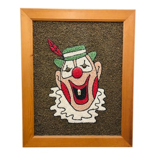 Vintage Mid Century Clown Art in Frame For Sale