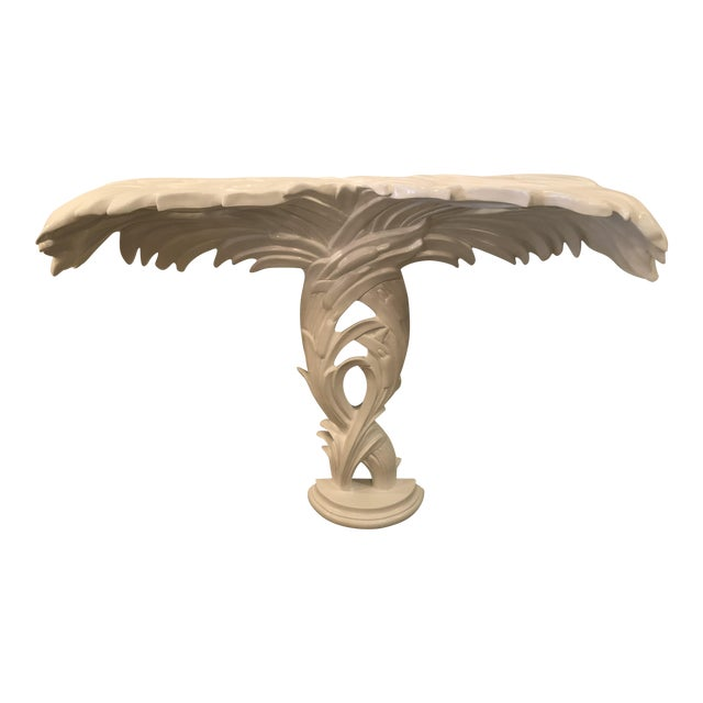 Vintage Palm Frond Leaf White Lacquered Wall Console Table For Sale