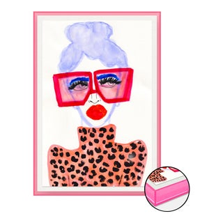 Colorful Girl by Kendra Dandy in Neon Pink Acrylic Shadowbox, Medium Art Print For Sale