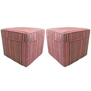 Pair of Vintage Kilim Upholstered Ottomans For Sale
