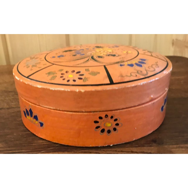Boho Chic Hand Painted Paper Mache Box For Sale - Image 3 of 10