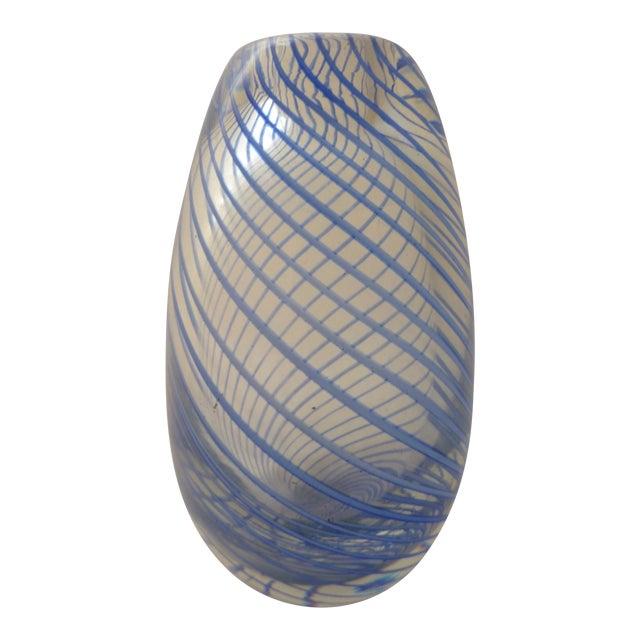 Murano Mid Century Glass Blue Swirl Vase - Image 1 of 9