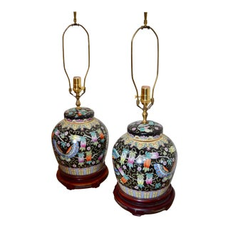 Antique Chinese Ginger Jar Table Lamps - a Pair For Sale