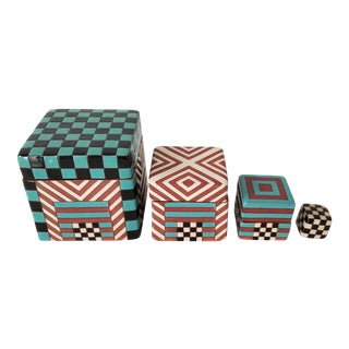 Postmodern Artistic Stacking Decorative Ceramic Boxes - Set of 4 For Sale