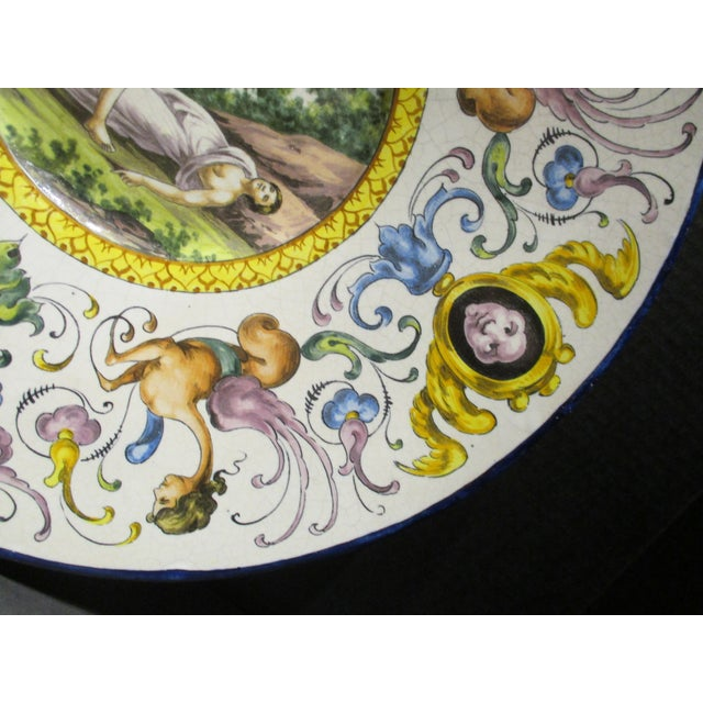 Ceramic Late 19th Century Italian Majolica Hand Painted Semi Nudes Impressed Ad Charger For Sale - Image 7 of 13