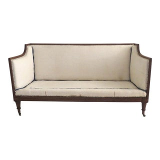 English Mahogany Late Regency Settee Reeded Turned and Fluted Legs For Sale