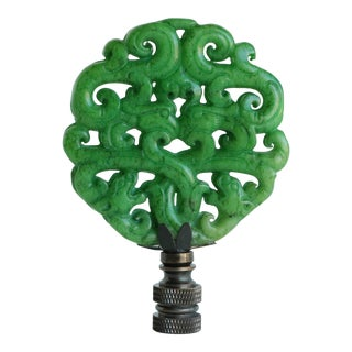 Chinoiserie Carved Stone Lamp Finial on Bronze Hardware For Sale