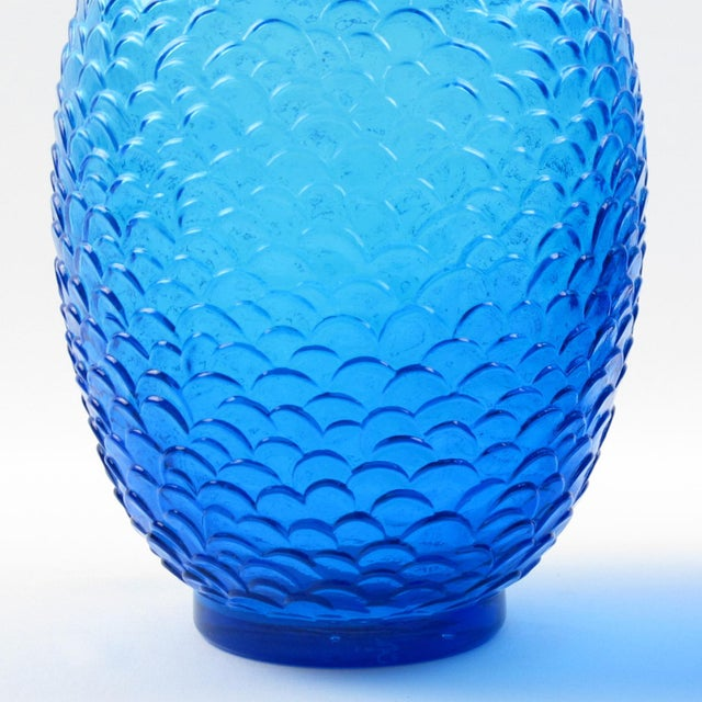 1930s Pierre d'Avesn for Cristallerie Choisy-Le-Roi Blue Molded Glass Vase, a Pair For Sale - Image 5 of 7