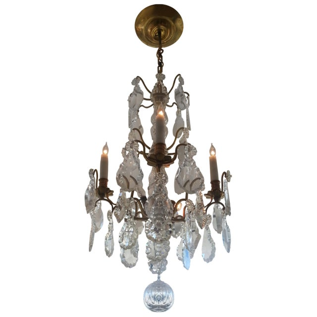 Louis XV Bronze & Hand-Cut Crystal Chandelier From France Circa 1850 For Sale - Image 9 of 9
