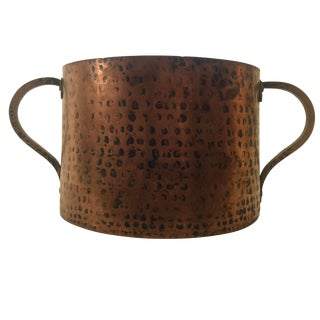 Stylish Antique French Hammered Copper Cauldron Pot For Sale