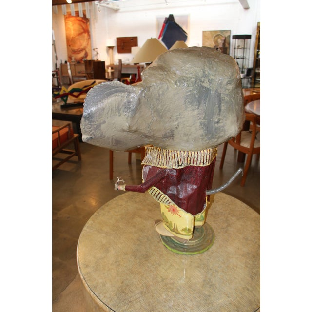 Figurative Elephant With a Cane Sculpture Signed and Dated 1984 For Sale - Image 3 of 11