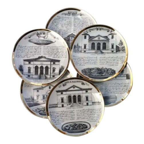 Fornasetti Set of six Vintage Plates For Sale