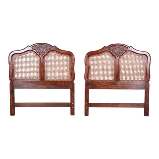 French Provincial Louis XV Carved Oak and Cane Twin Headboards by Hickory-a Pair For Sale