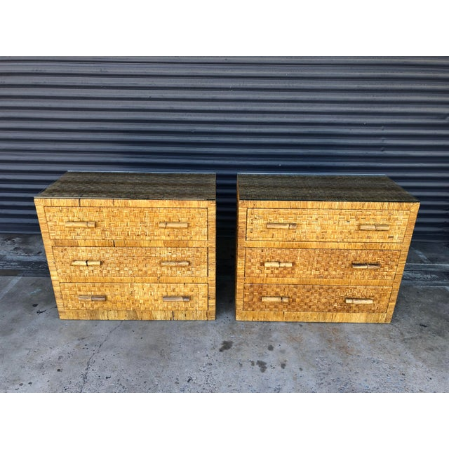 Boho Chic Vintage Woven Wrapped Rattan Chests- a Pair For Sale - Image 3 of 13