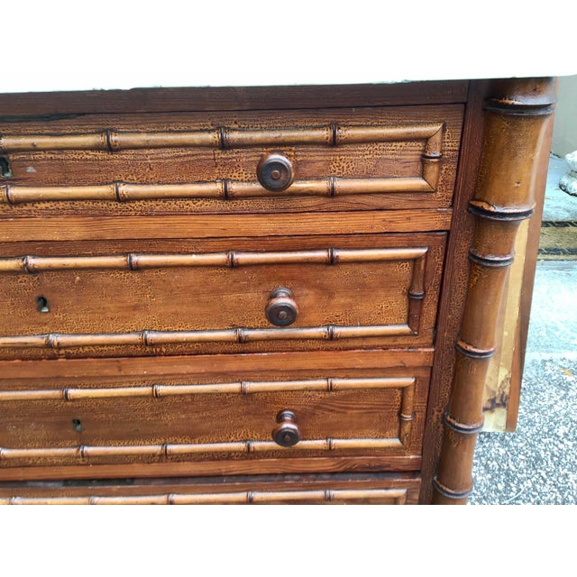 19th Century 19th Century American Marble Top Faux Bamboo Chest of Drawers For Sale - Image 5 of 10