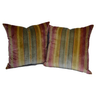 "Scalamandré Silk Velvet Multi-Color Stripe 18"" Pillows - a Pair For Sale"