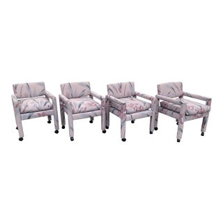 1980s Vintage Thayer Coggin Parsons Chairs- Set of 4 For Sale