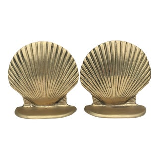 Brass Clam Shell Clamshell Bookends - a Pair For Sale