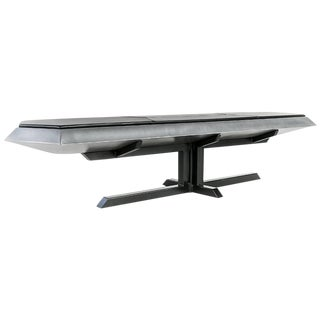 Contemporary Topher Gent Bench No. 10 Steel Leather Cantilever Bench For Sale