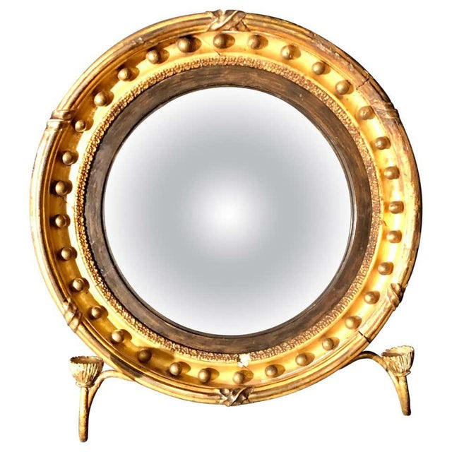 19th Century Federal Giltwood Bullseye Convex Mirror Wall Sconce For Sale - Image 11 of 11